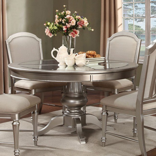Regency Park Round Dining Table Platinum By Avalon Furniture Furniturepick