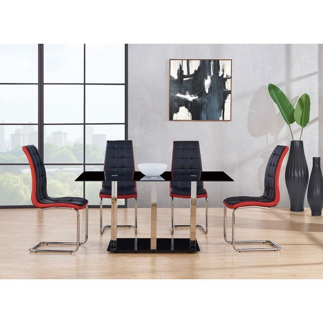 D252 Dining Room Set W Black And Red Chairs By Global Furniture Furniturepick