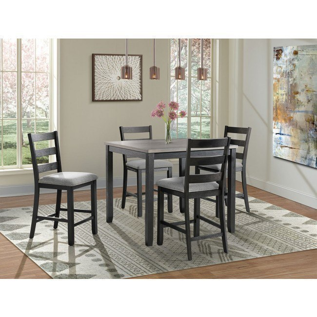 Martin 5 Piece Counter Height Dining Room Set Grey Black By Elements Furniture Furniturepick