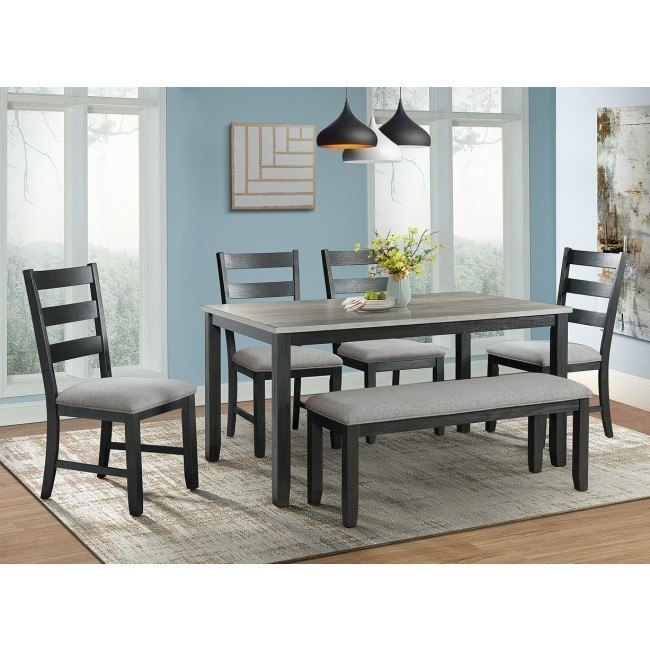 Martin 6 Piece Dining Room Set Grey Black By Elements Furniture Furniturepick