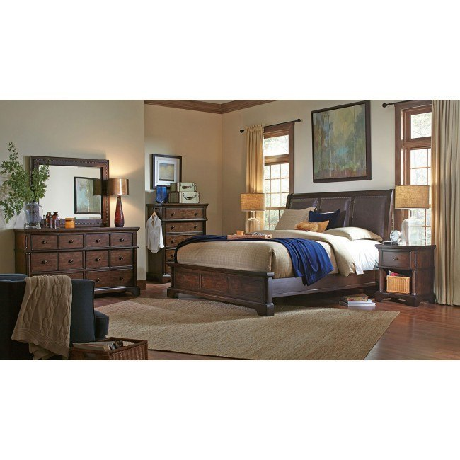 Bancroft Upholstered Sleigh Bedroom Set By Aspenhome Furniturepick