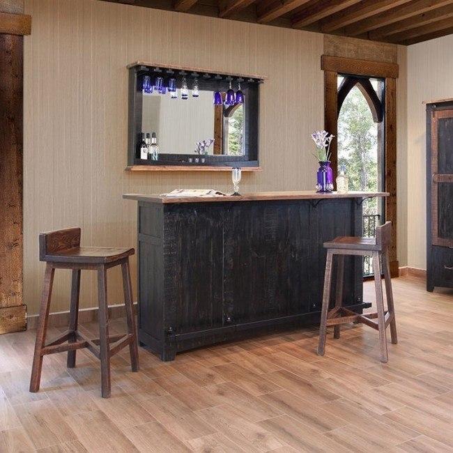 Pueblo Home Bar Set Brown Black By Ifd Furniture Furniturepick