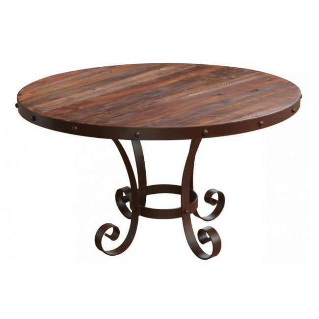 Antique Round Dining Table W Iron Base By Ifd Furniture Furniturepick