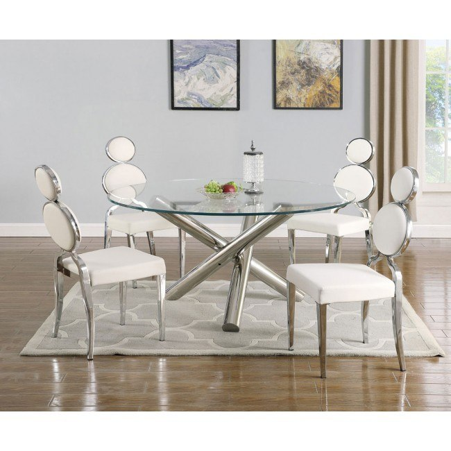 Star 54 Inch Round Dining Room Set Polished W White Chairs By Chintaly Imports Furniturepick
