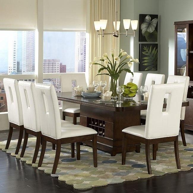 Elmhurst Pedestal Dining Room Set With White Or Brown Keyhole Chairs Homelegance Furniturepick