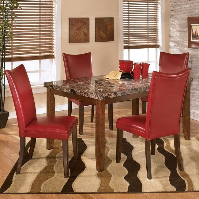 Lacey Dining Room Set With Charrell Red Chairs Signature Design By Ashley Furniture Furniturepick