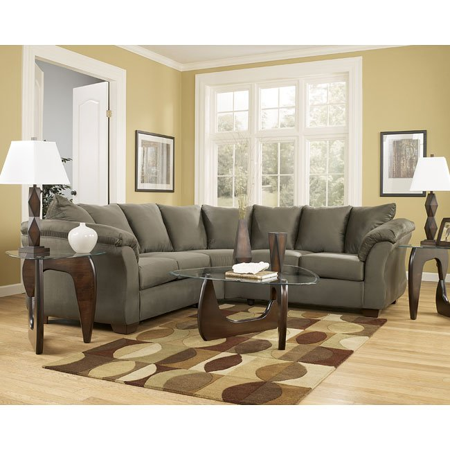 darcy  sage sectional living room set signature design