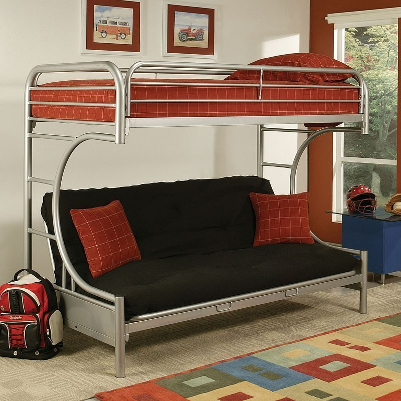 Eclipse Twin Xl Over Queen Futon Bunk Bed Silver Kids And Youth