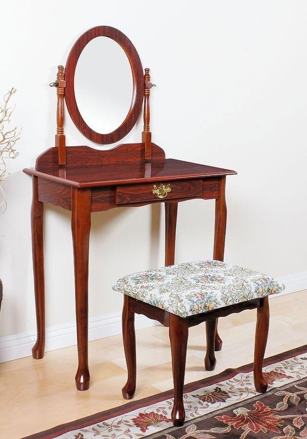 Queen Anne Vanity Set Cherry By Acme Furniture Furniturepick