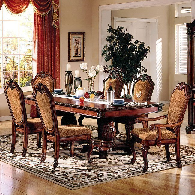Chateau De Ville Dining Room Set W Fabric Chairs By Acme