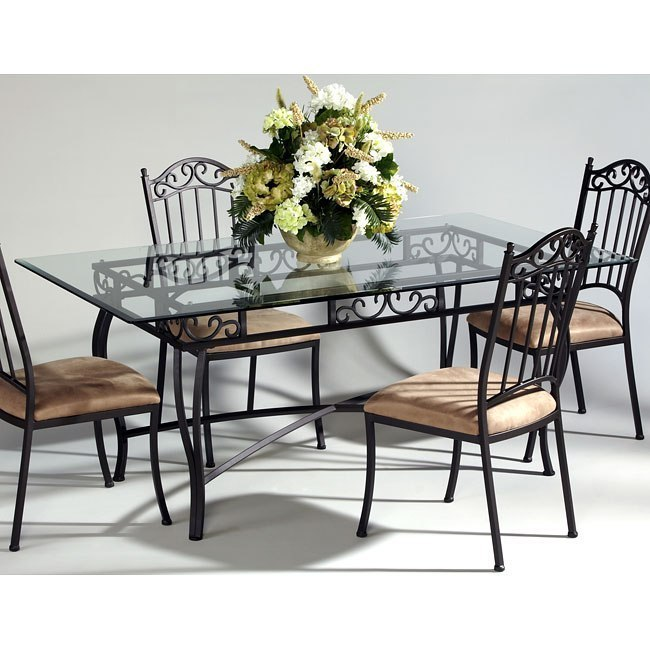 Wrought Iron Rectangular Glass Dining Table By Chintaly Imports
