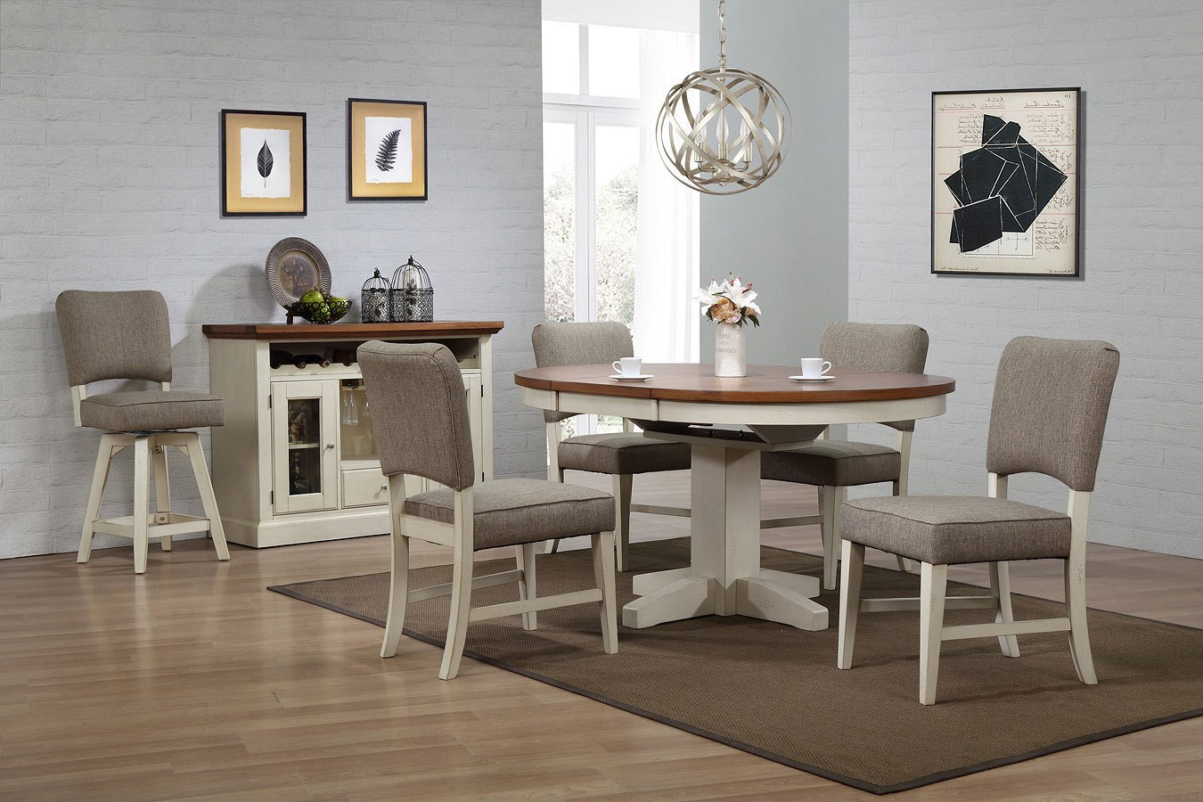 Antique White Round Dining Room Set w/ Parsons Side Chairs ...