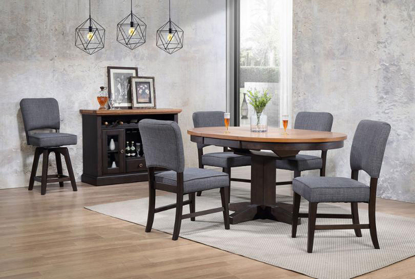 Black Oak Round Dining Room Set W/ Parsons Chairs