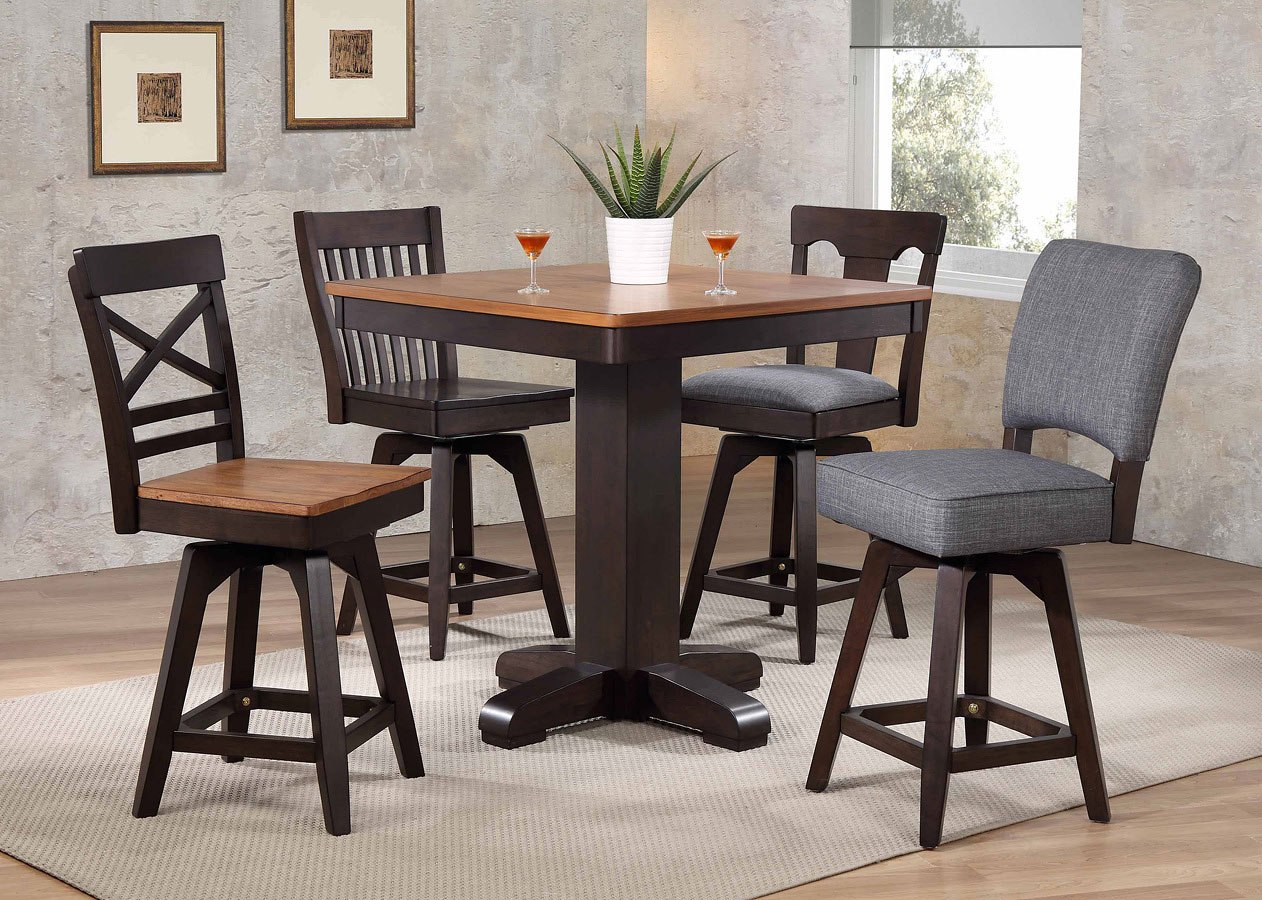 black oak pub table set home bar and game room furniture home bar