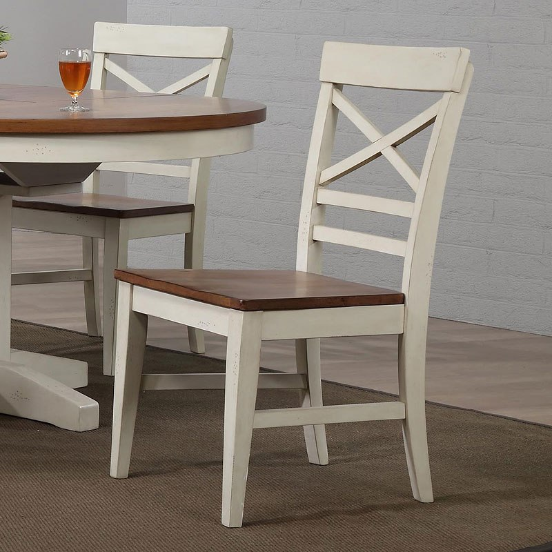 Antique White X Back Side Chair (Set of 2) by ECI Furniture - Antique White Round Dining Room Set - Dining Room And Kitchen