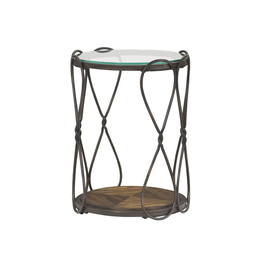 Hidden Treasures Round End Table Antique Bronze By