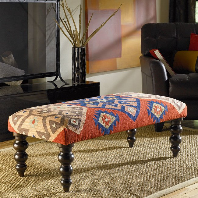 Hidden Treasures Kilim Rug Bench W/ Turned Legs