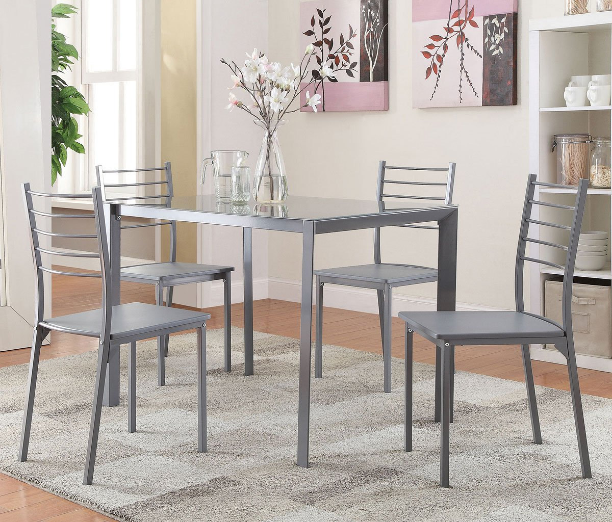 Grey 5 piece dinette casual dining sets dining room for Casual kitchen dining