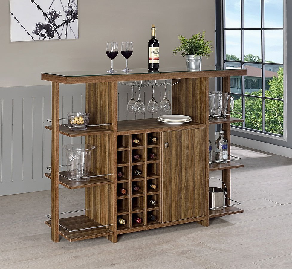 Walnut Modern Bar Unit