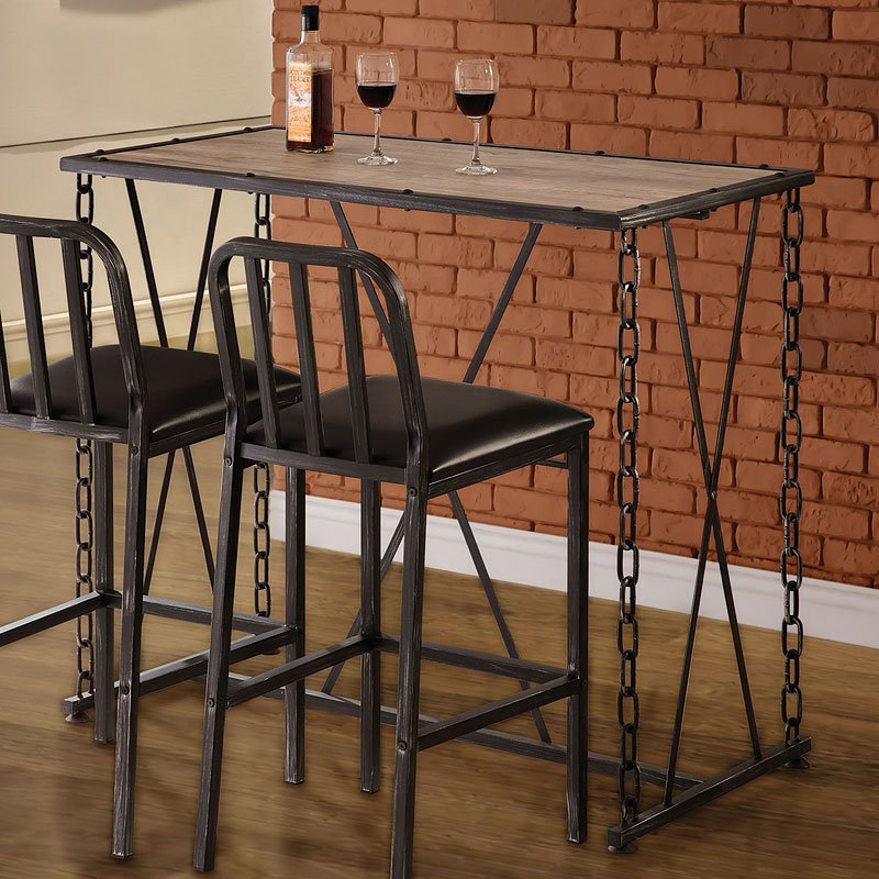 Rustic Industrial Chain Link Bar Table By Coaster Furniture