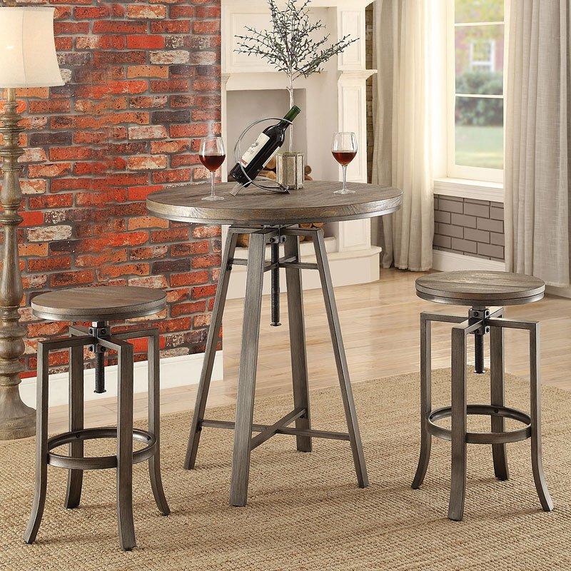 Industrial Adjustable Bar Table Set