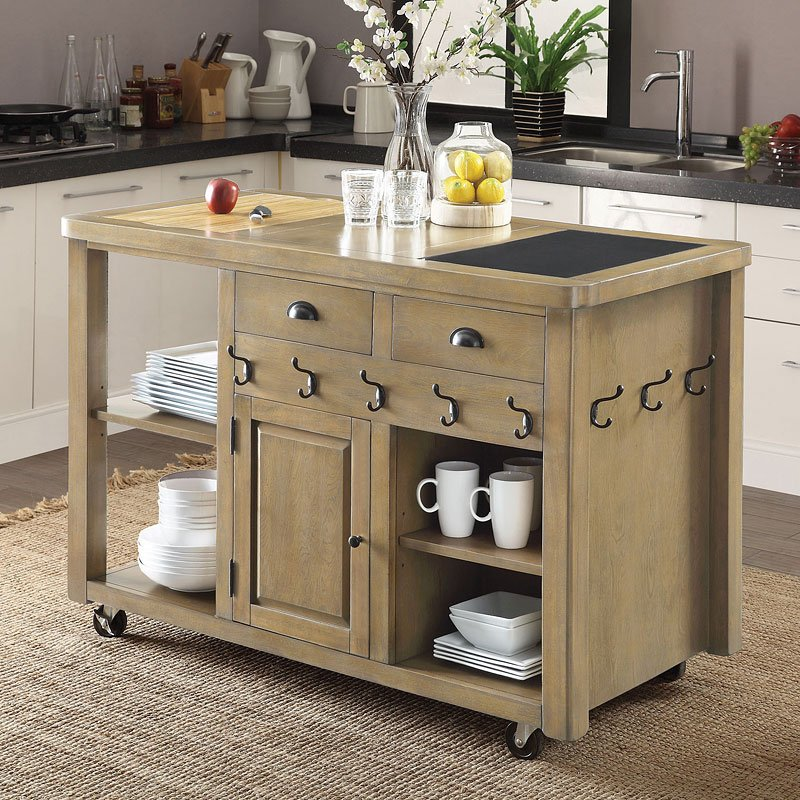 Weathered Natural Kitchen Cart