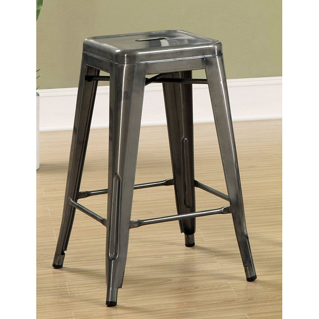 Antique Silver 24 Inch Metal Bar Stool Set Of 2 By Coaster
