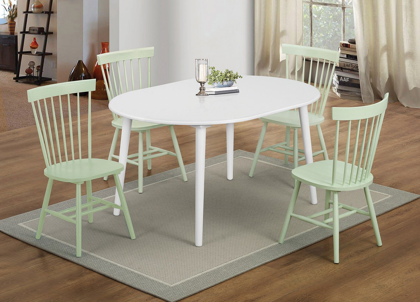 Emmett Oval Dining Room Set W Mint Green Chairs