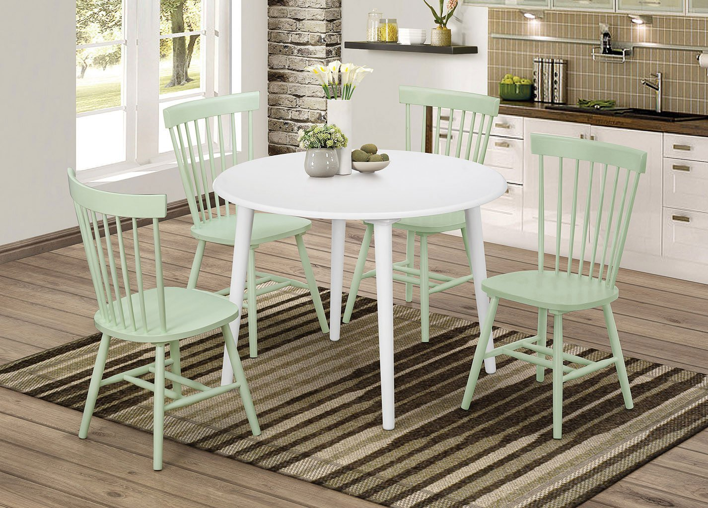 Mint green furniture Wall Emmett Round Dining Room Set W Mint Green Chairs By Coaster Furniture Furniturepick Furniture Pick Emmett Round Dining Room Set W Mint Green Chairs By Coaster