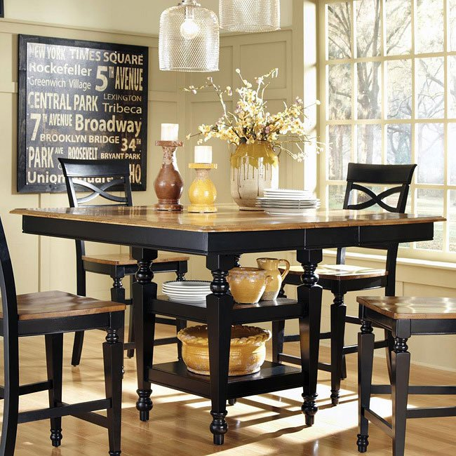 Ashley Counter Dining Table (Black/Oak) By Coaster