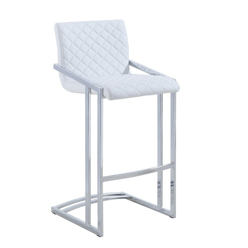 1 X Chrome Bar Table; Quilted White Leatherette Bar Stool