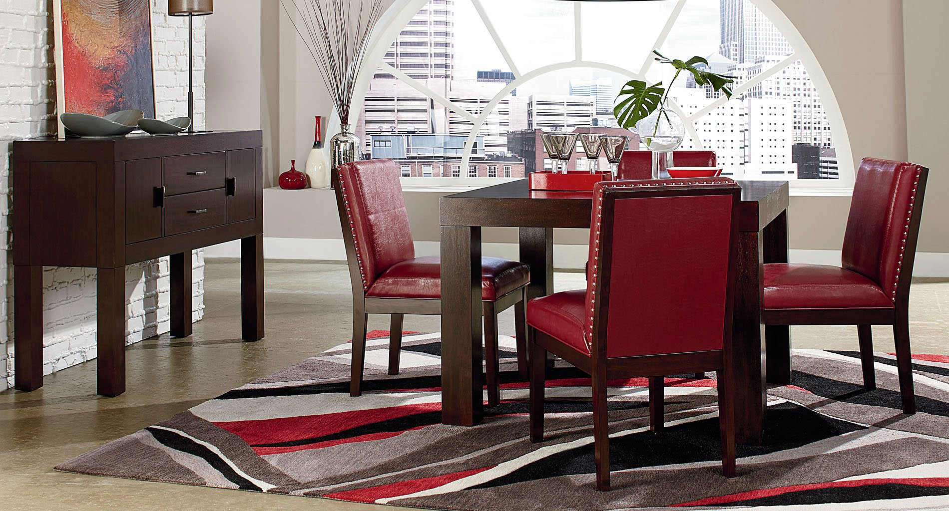 red and black dining room sets | Couture Elegance Dining Room Set w/ Red Chairs by Standard ...