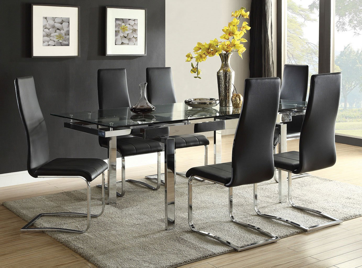 Wexford Rectangular Dining Set W/ Black Chairs
