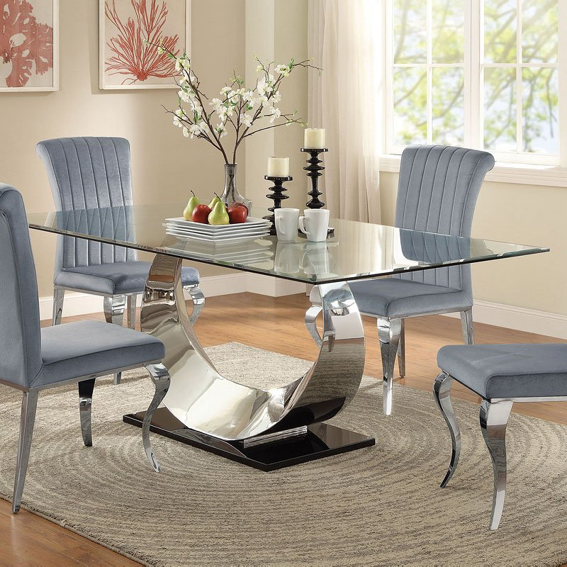 Coaster Carone Contemporary Glam Dining Room Set With: Manessier Dining Room Set W/ Carone Chairs By Coaster