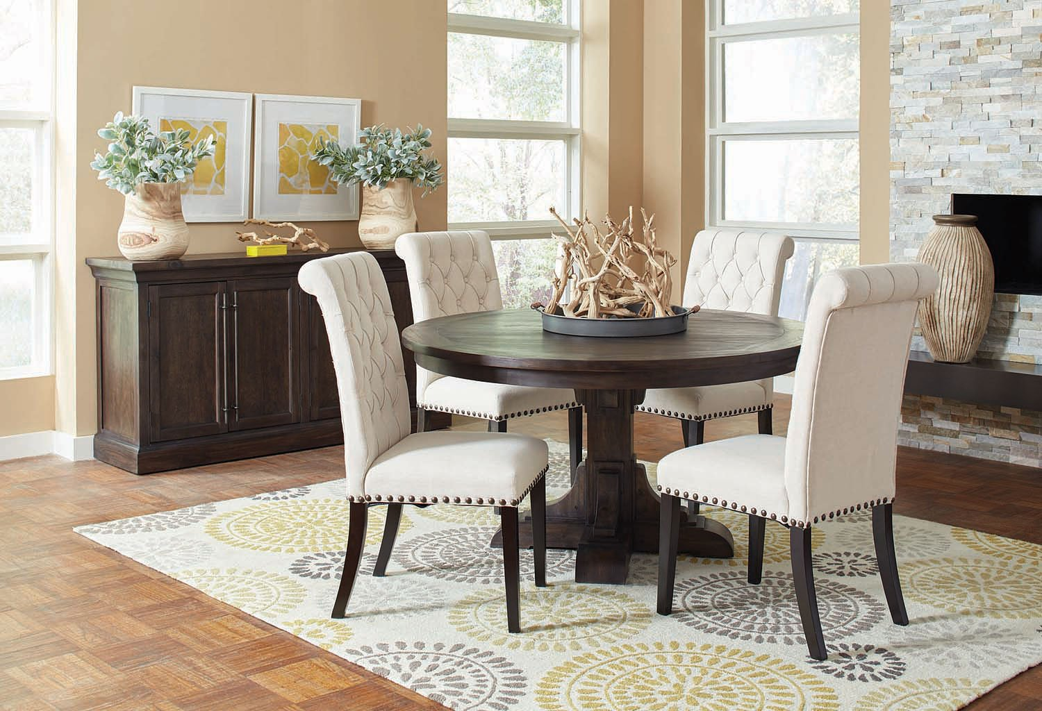 Weber Round Dining Room Set W Cream Chairs By Coaster