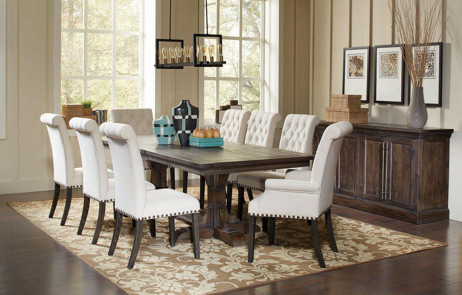 weber dining room set w cream chairs formal dining sets dining room and kitchen furniture. Black Bedroom Furniture Sets. Home Design Ideas