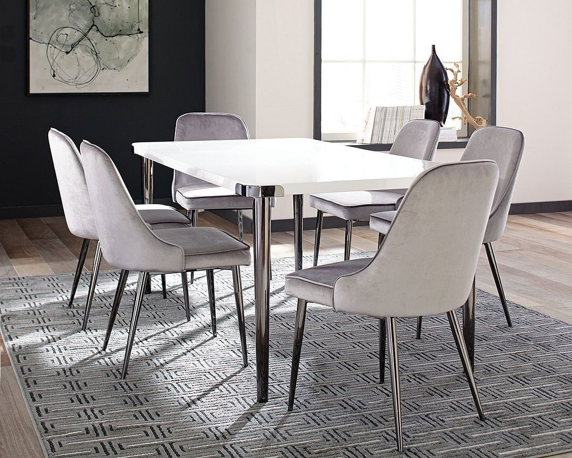 Grey Dining Room Chairs: Riverbank Dining Room Set W/ Grey Chairs By Coaster