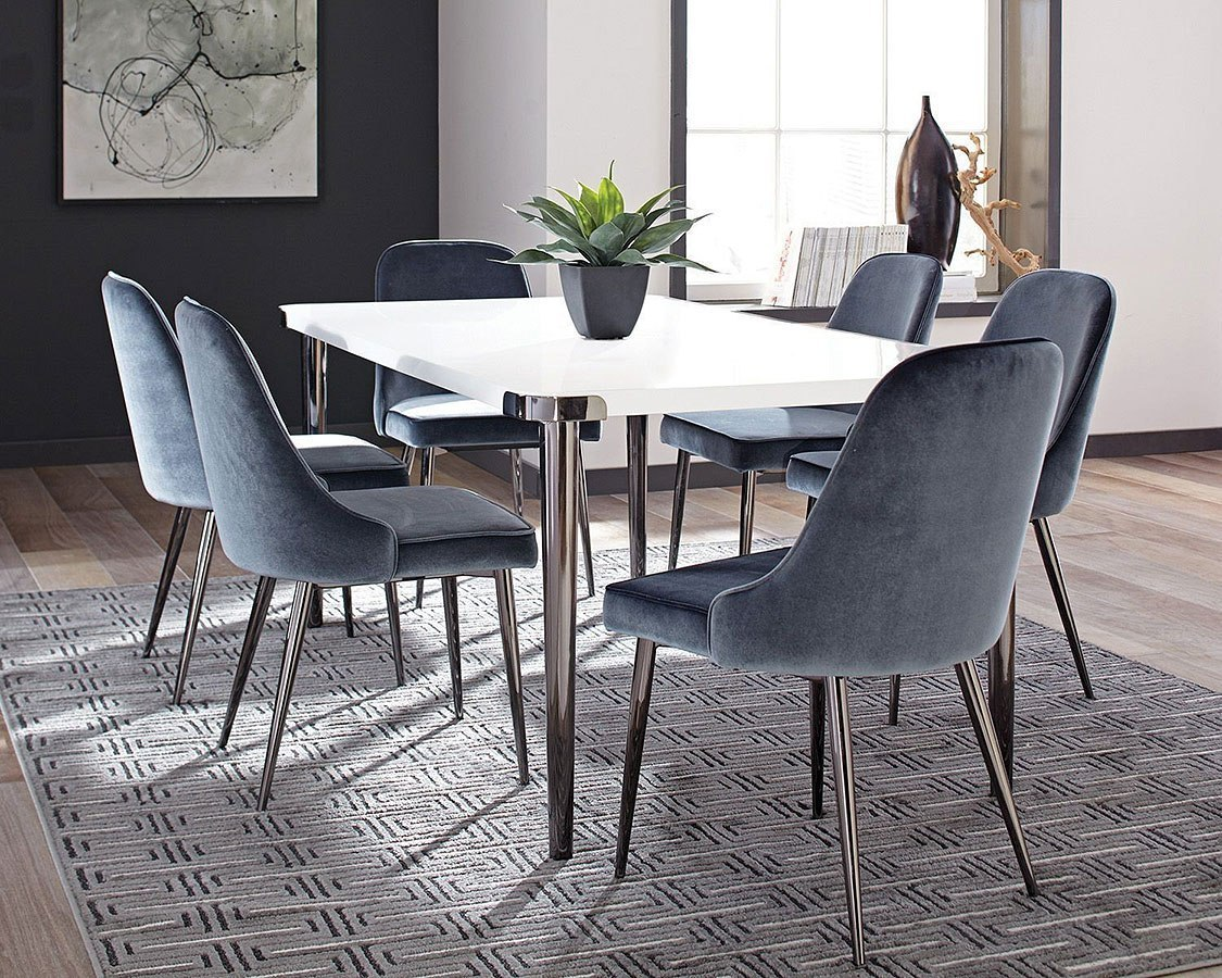 Riverbank Dining Room Set W/ Blue Chairs