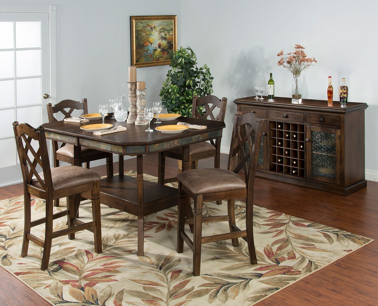 Savannah Adjustable Height Dining Set W Doublecross Stools By Sunny Designs