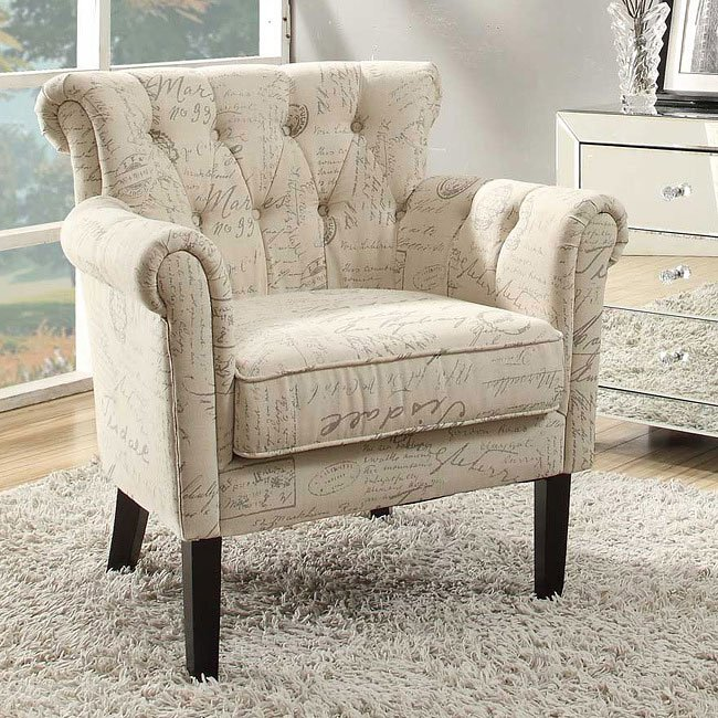 Barlowe French Script Pattern Accent Chair