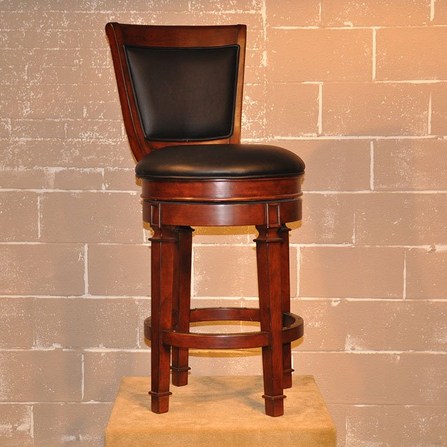 Monticello 30 Inch Leather Stool Distressed Walnut Barstools Home Bar And Game Room