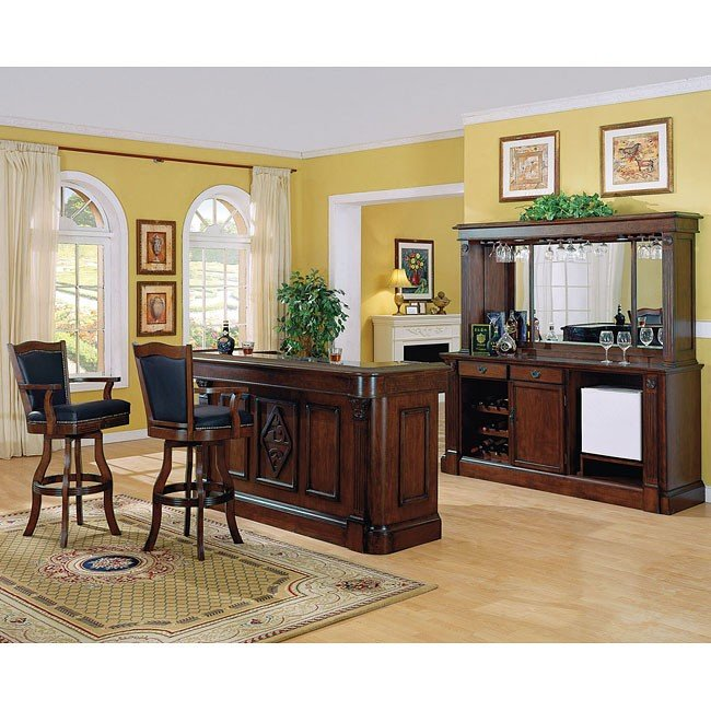 Monticello Home Bar Set Distressed Walnut