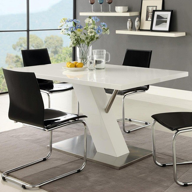 Modern White Dining Table W Angled Base By Coaster Furniture