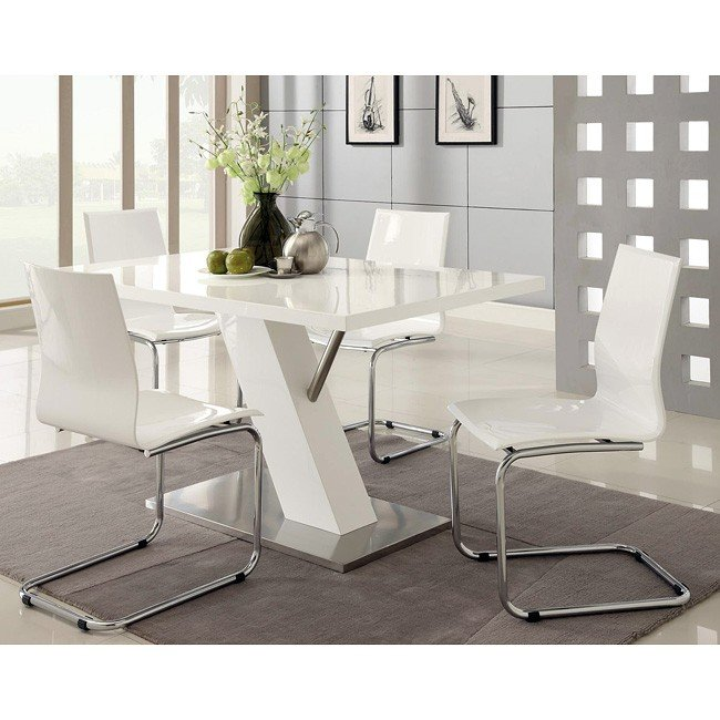 Modern White Dining Room Sets: Modern Dining Room Set W/ White Chairs By Coaster