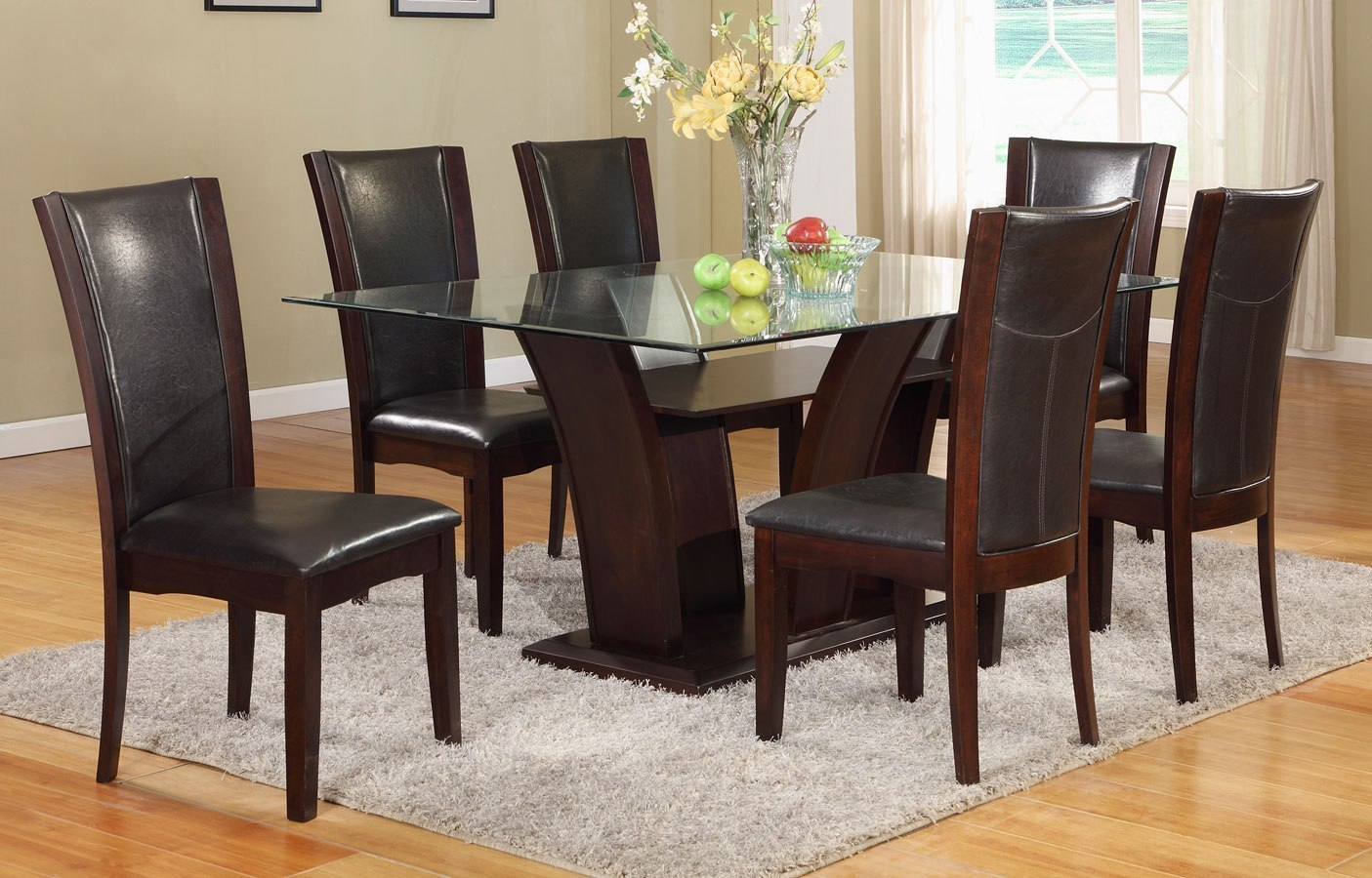 Camelia Rectangular Dining Set W Espresso Chairs By Crown