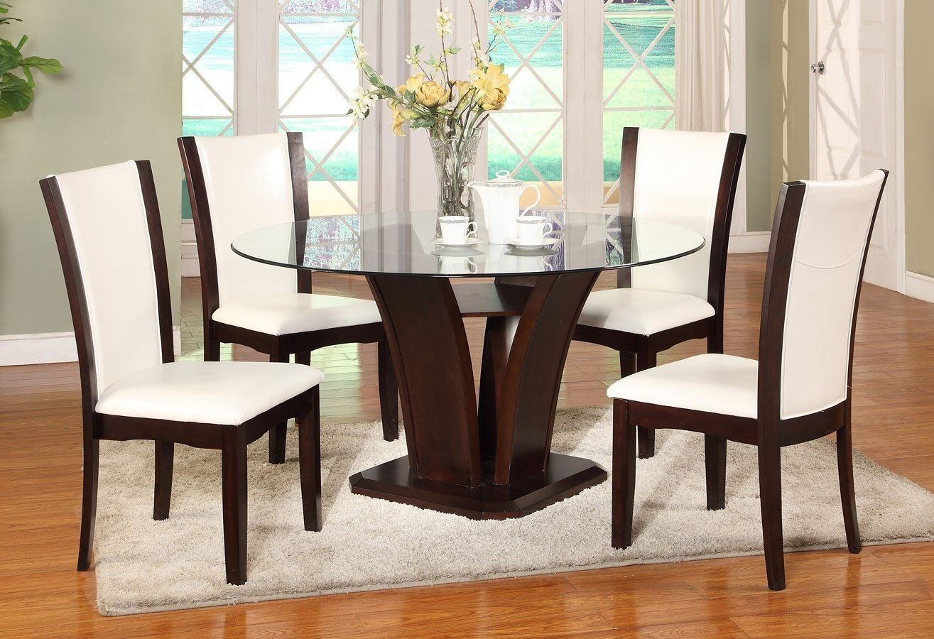 Camelia Round Dining Set W White Chairs By Crown Mark