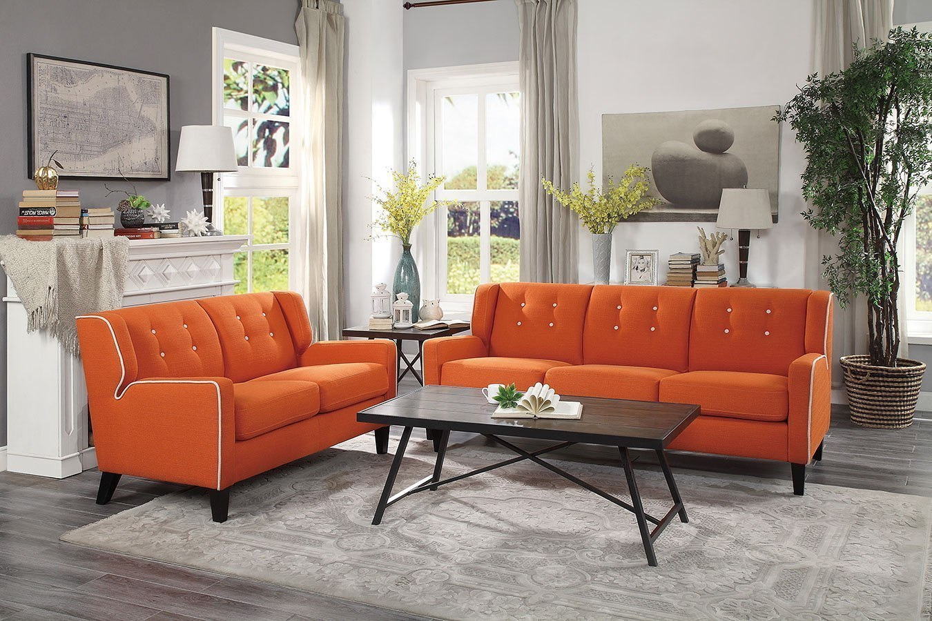 amazing orange white sofa living room furniture set | Roweena Living Room Set (Orange) by Homelegance ...