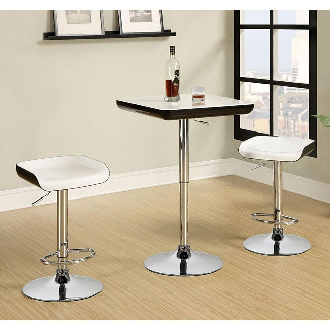 Black Bar Set: Black And White 3-Piece Bar Set By Coaster Furniture