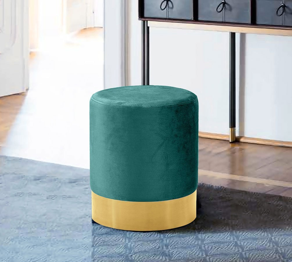 Joy Ottoman Stool Green Gold By Meridian Furniture