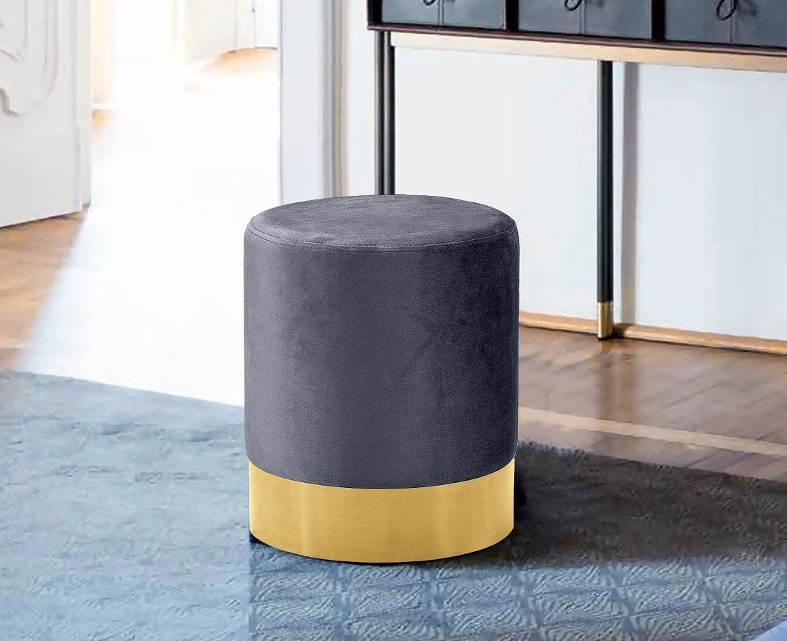 Ottomans Ellis Dark Grey Velvet Finish Storage Chest: Joy Ottoman/ Stool (Grey/ Gold) By Meridian Furniture